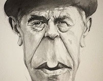 Rene Magritte Watercolor Caricature