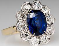 Royal Blue 4 Carat GIA Sapphire Halo Ring