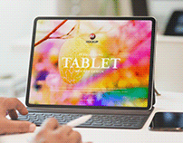 Free Person Using Tablet Mockup