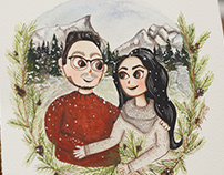 Custom couple portrait with plants made in watercolor