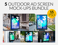 Outdoor Advertising Screen Mock-Ups Bundle 5