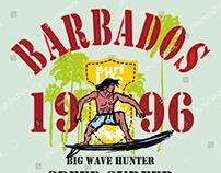 Barbados surfer vector art