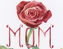 Rose lettering watercolor