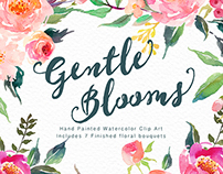 Watercolour Floral Clip Art-Gentle Blooms