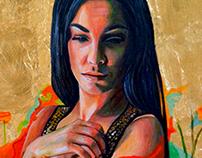 The poppy lady, oil on canvas, 60x70cm, 2016