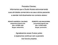 Encerramento das Atividades do estúdio Mutato