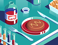 A selection of isometric editorial illustrations