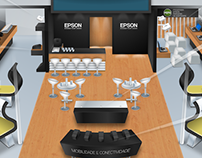 Illustration of Stand in 3D, Epson client