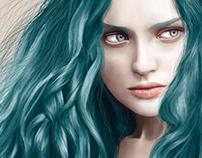 La chica con el cabello Azul
