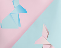 Pink and blue origami bunny