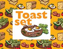 Toast set and seamless patterns (2 free illustration)