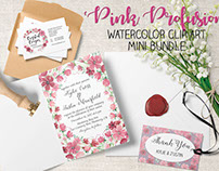 'Pink Profusion': watercolor clip art mini bundle