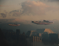 Air Carriers flying over an abandoned city