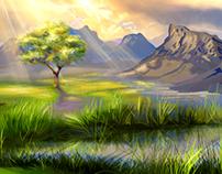 Neem Tree and Leaf Illustration