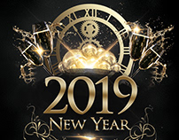Happy New Year 2019 Free PSD Flyer Template