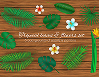 Tropical leaves and flowers set. Vector clipart.