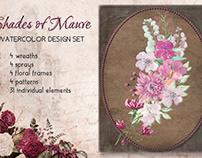 """""""Shades of mauve"""" watercolor clip art design set"""