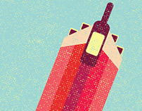 Flying Wine editorial illustration