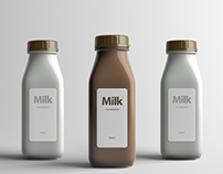 Milk Bottle Packaging Mock-Up