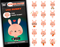 M2 | Pink Bunny Rabbit Stickers for iMessage