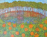 "Citrus Grove, acrylic on collage, 36""x48"""