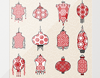 Chinese New Year Lanterns and Red+White Patterns