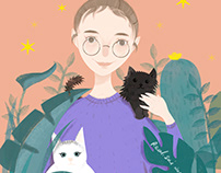 girl and her cats