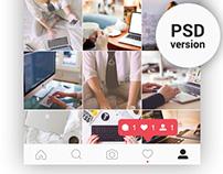 FREE | Instagram Feed & Profile Screen PSD UI – 2016
