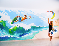 """""""Kitesurfing"""" wall painting in the living room"""