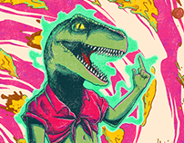 Poster/Tshirt - Pizza Dino Drop