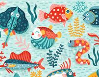 Fish Friends Kids Apparel Pattern Illustration