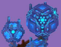 Glass trees — voxel art