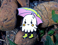 Rain BoOoOots Enamel Pin and Sticker