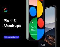 Google Pixel 5 - 20 Mockups Scenes - PSD