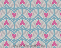 Hearts with wings - repeat pattern