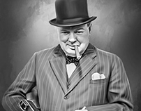 Sir Winston Churchill Digital Oil by Wayne Flint