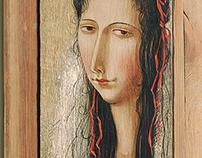 Portrait in Renaissance style. tamperа, wooden panel