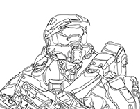 Halo Master Chief Continuous Line Illustration