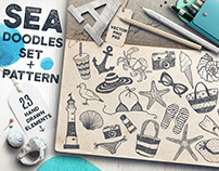 Sea doodles set. Creative Market product.