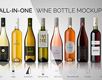 All-In-One Wine Bottle Mockup (FREE version)