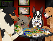 Dogs Playing Settlers of Catan