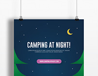 Flat design poster at night