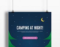 Flat design poster at night