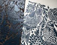 Botanical bird Linocuts
