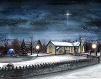 'Robeen Church at Christmas' - Watercolour & Pen