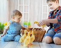 Весенний семейный проект в фотостудии с животными