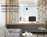 Home Office Curtains, Blanket, Carpet & Pillows Set