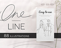 One line illustrations