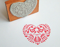 Heart stamp with Hungarian motifs