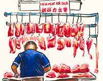Hong Kong street market paintings